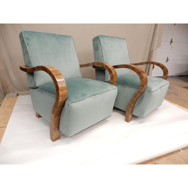 Wood Pair of 1930's Upholstered Arm Chairs. For Sale - Image 7 of 7