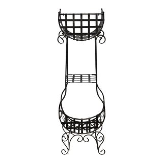 French Country Cast Iron Tiered Metal Plant Stand For Sale