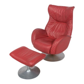 Kebe Modern Red Swivel Chair and Stool - a Pair For Sale