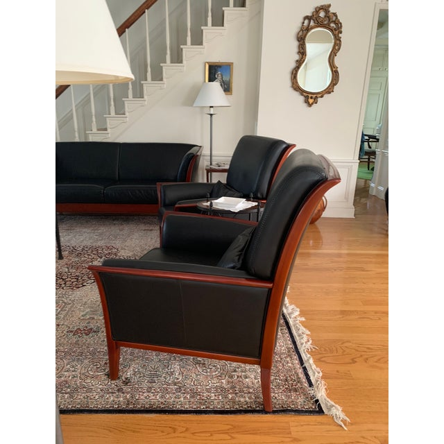 Wooden framed Maurice Villency 2 chair set. Made in Tuscany (Pistoia) with real Italian, super soft, black leather. This...