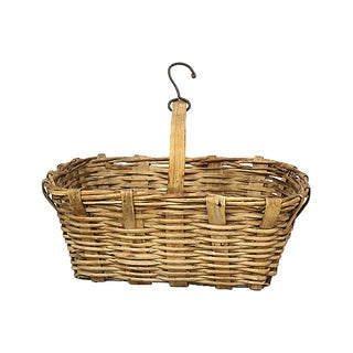 Vintage French Wicker Market Basket For Sale