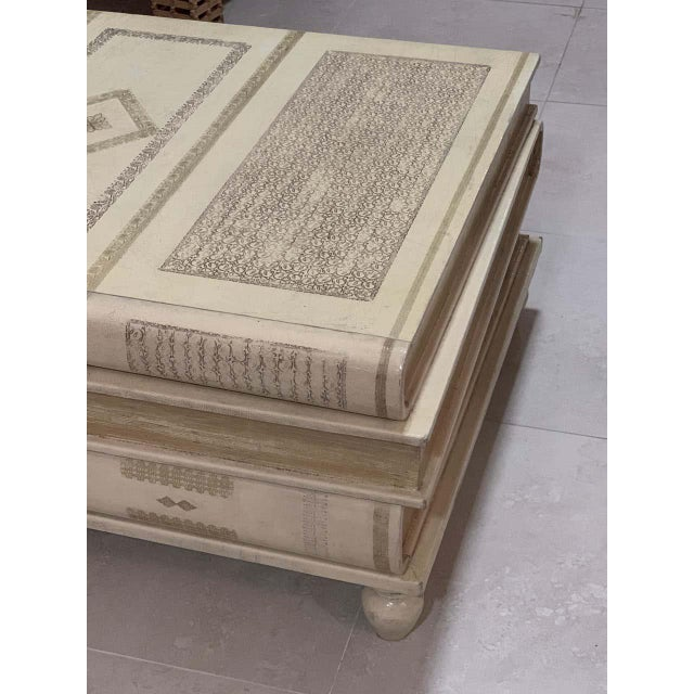 Cream Neoclassical White-Parchment Leather Book Coffee Table by Maitland-Smith For Sale - Image 8 of 10