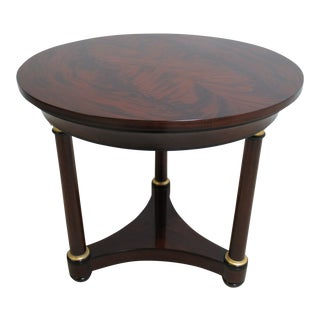 Council Furniture Neoclassical Flame Mahogany Round Pedestal End Table For Sale