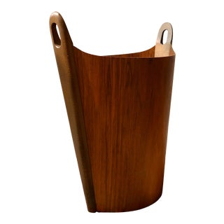 P. S. Heggen Teak Waste Basket Designed by Einer Barnes For Sale