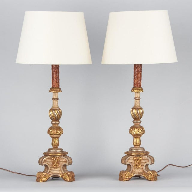 Late 19th Century Italian Painted Gilt Wooden Lamps - a Pair For Sale - Image 13 of 13