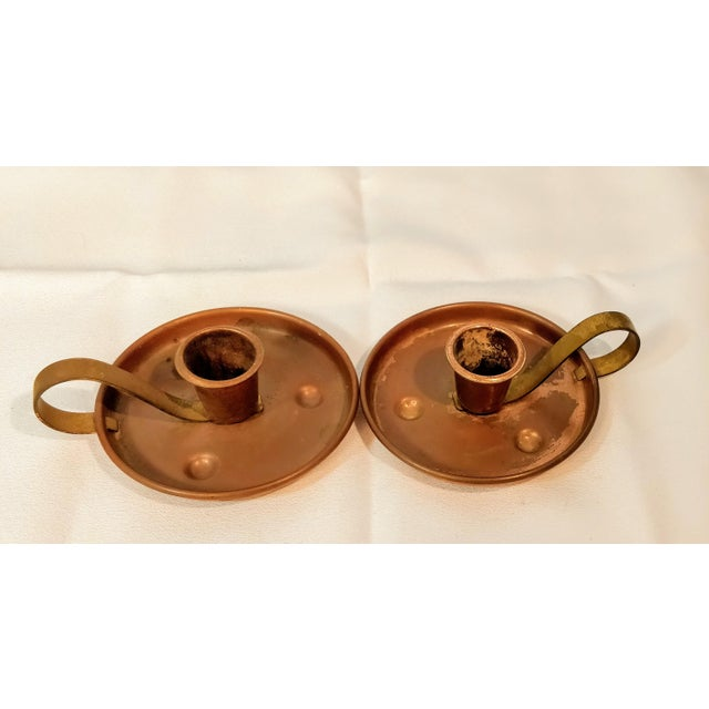 Gold Pair of Vintage Coppercraft Guild Taunton Mass Copper Candlestick Holders For Sale - Image 8 of 8