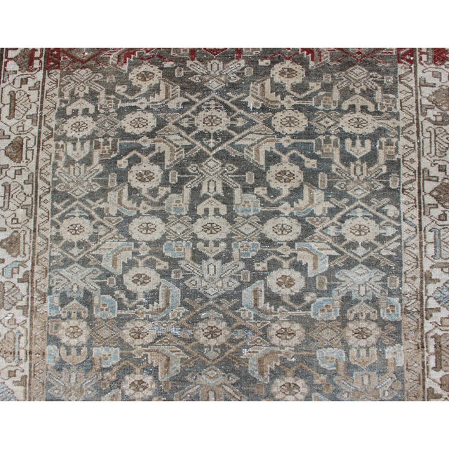 Tan Earthy Tone Vintage Persian Hamadan Rug With All-Over Pattern For Sale - Image 8 of 12