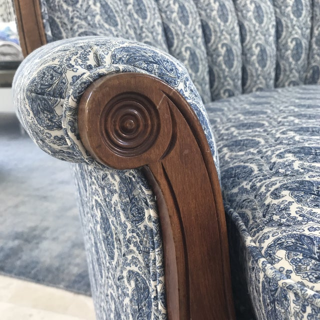 Blue Paisley Upholstered Arm Chair - Image 6 of 7