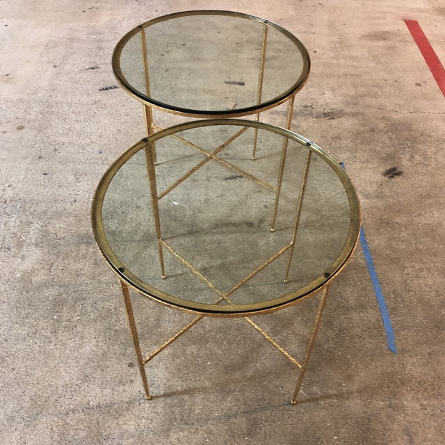 2010s Pair of Custom Gold Finish Round Side Tables For Sale - Image 5 of 12