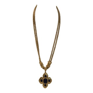 Chanel Gold Tone Chain and Gripoix Glass Pendant Necklace. For Sale