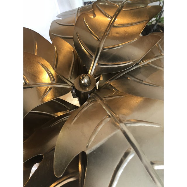 Vintage Hollywood Regency Gold Brass Metal Palm Tree Leaf Frond Leaves Floor Lamp For Sale - Image 9 of 13