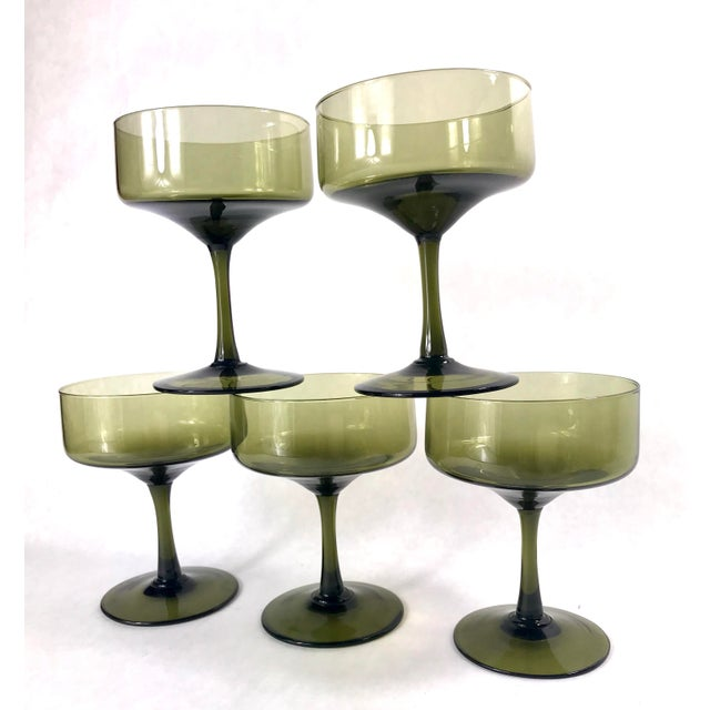 Mid-Century Modern Vintage Smoke Green Coupe Champagne Glasses - Set of 5 For Sale - Image 3 of 7