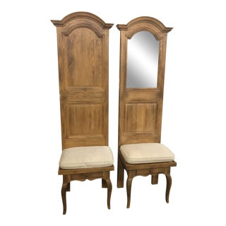 Vintage Mid Century High Back Oak Entry Way Chairs- A Pair For Sale