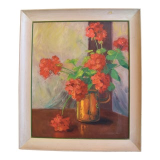 Midcentury Red Geraniums in Copper Vase Oil Painting For Sale