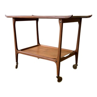 Mid Century Modern Rolling Bar / Tea Cart Tray Table For Sale