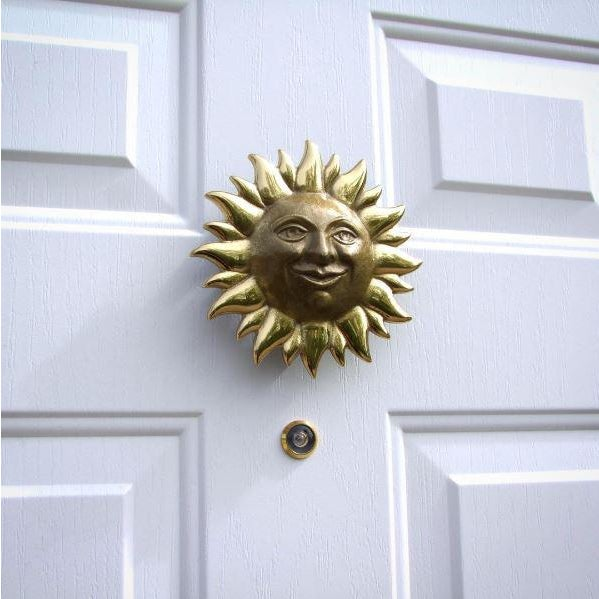 This item is brand new in gift packaging. The Sunface Door Knocker is cast in Solid Brass. Brass and bronze are copper-...