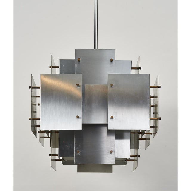 Gold Satin Steel Floating Panel Chandelier by Robert Sonneman For Sale - Image 8 of 11