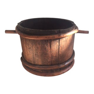 1900s Antique Americana Folk Art Wooden Bucket For Sale