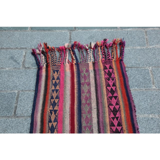 Colorful Striped Cicim Kilim -5' X 1' 5'' Kilim - Image 2 of 11