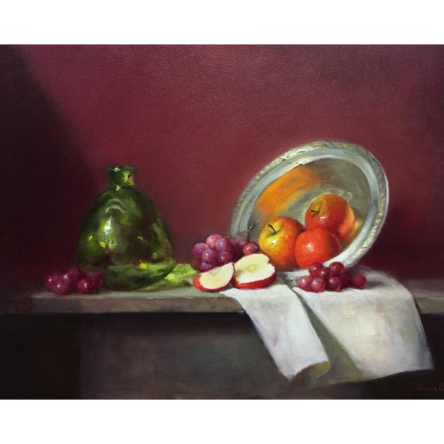 Red Apples, Grapes and Green Bottle Oil Painting - Image 1 of 4