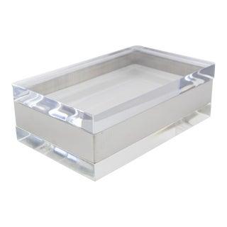 Gabriella Crespi Style Modernist Italian Lucite and Chrome Metal Decorative Box For Sale