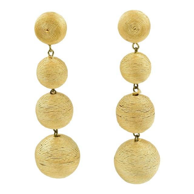 1980s Dancing Disco Oversized Dangling Yellow Thread Pierced Earrings For Sale