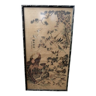 Antique Oriental Birds and Flowers Scroll Painting For Sale