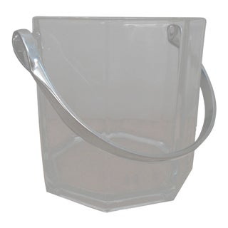 1990s Vintage French Mini Octagon Glass Ice Bucket For Sale