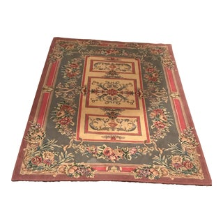 "Italian Cotton Chenille Rug - 4'3"" X 5'10"" For Sale"