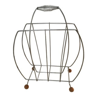 1990s Mid-Century Modern Inspired Magazine Rack For Sale