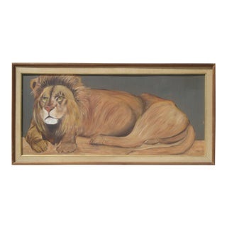 "Monumental 53"" Reclining Lion Painting"