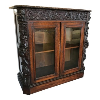 Late 19th Century Antique Ornate Carved Wood Barrister Bookcase With Hidden Drawer For Sale