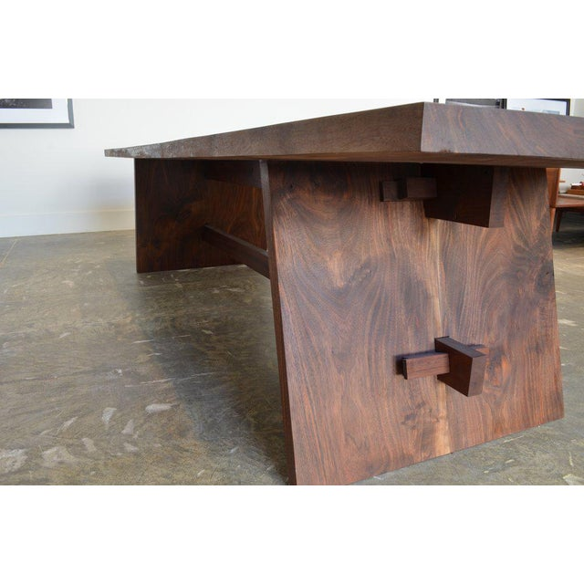Ozshop Walnut Slab Campaign Style Dining Table For Sale - Image 4 of 5