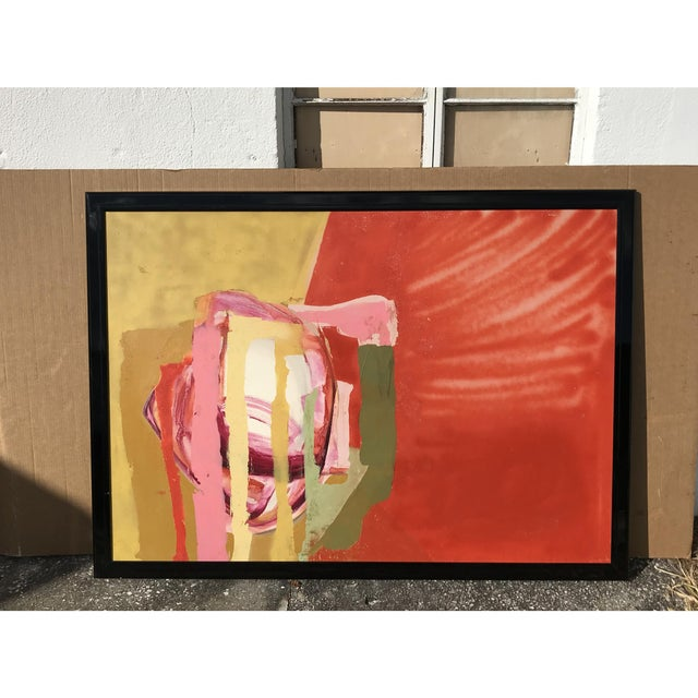 Mid Century Modern Red Painting. A showstopper with the riot of colors.