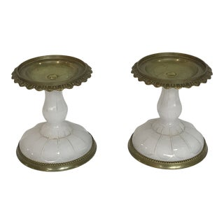 French Brass Opaline Glass Dessert Pedestals - a Pair For Sale