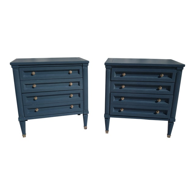 Mid-Century Blue Nightstands - A Pair - Image 1 of 10
