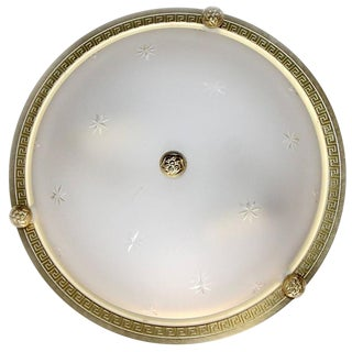 Vaughan Regency Style Greek Key Brass Glass Flush Mount For Sale
