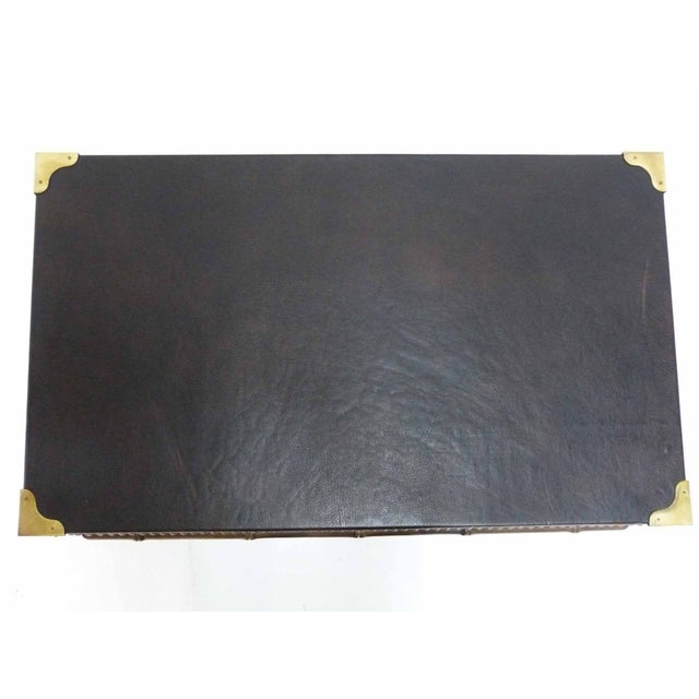 Drexel Faux Bamboo Leather Top Side Table For Sale In Denver - Image 6 of 9