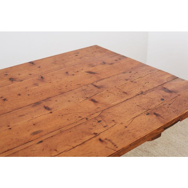 Rustic Italian Baroque Style Pine Trestle Farm Table For Sale - Image 4 of 13