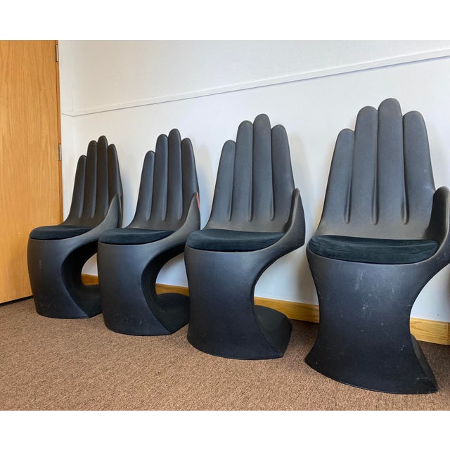 1990s Vintage European Touch Black Hand Chairs - Set of 6 For Sale - Image 4 of 12