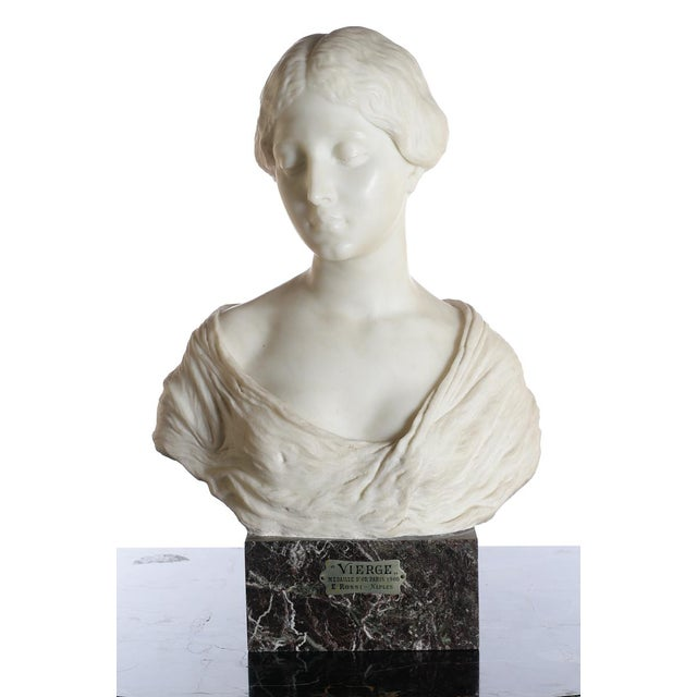 Antique Italian Art Nouveau Marble Bust of a Female titled Vierge by E. Rossi. Circa 1900s. Signed E. Rossi (Edoardo...