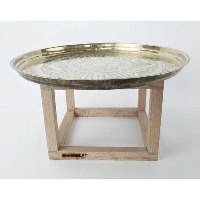 Gold Modern Brass and Copper Tea Accent Table For Sale - Image 8 of 8