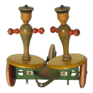 Art Deco Wooden Spinning Sailors Pull Toy