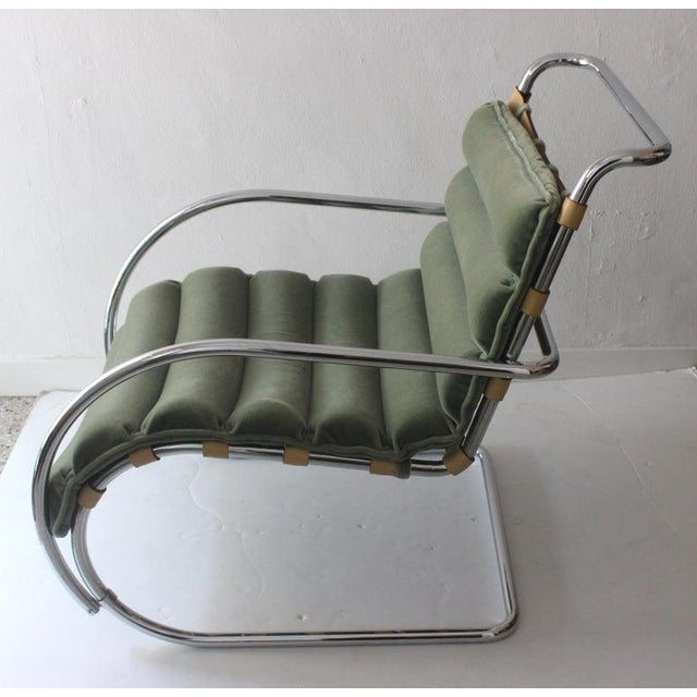 Green Vintage Mies Van Der Rohe Style Lounge Chair by Gordon International For Sale - Image 8 of 13