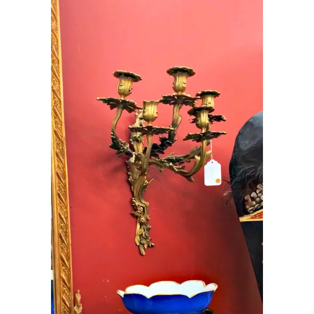 French Louis XV Style Five Branch Rocaille Wall Lights - a Pair For Sale - Image 3 of 5
