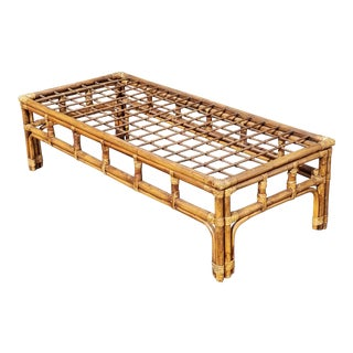 Mid-Century Modern Bamboo Rattan Coffee Table For Sale