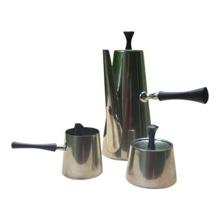 Modernist Italy Silver Plate Rosewood Sugar Creamer Tea Pot Coffee Set - Set of 3 For Sale