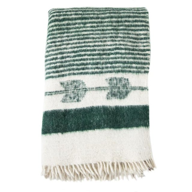 Green and White Wool Blanket - Image 1 of 6