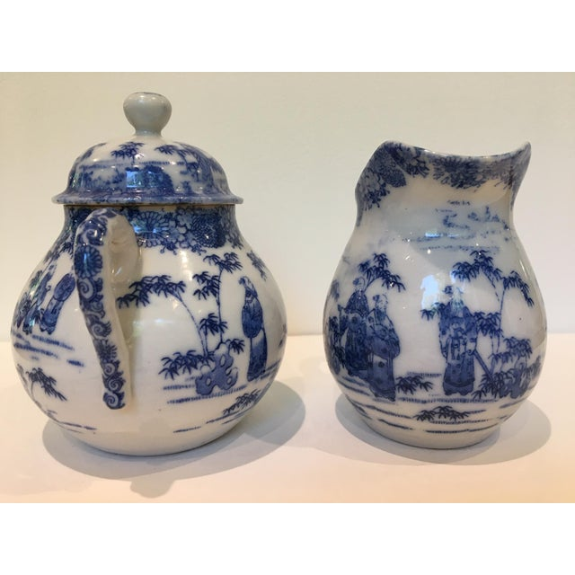 Shabby Chic Vintage Chinoiserie Blue and White Creamer and Lidded Sugar Bowl - Set of 2 For Sale - Image 3 of 8