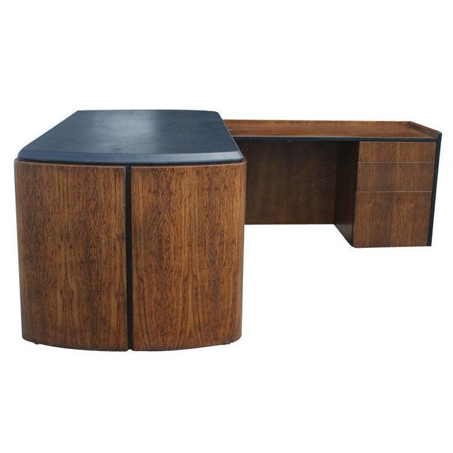 Mid Century Oak and Leather Desk by Lydia dePolo for Dunbar For Sale - Image 9 of 9
